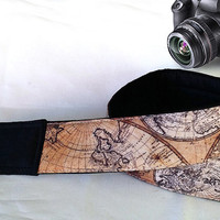 Map Camera Strap. Vintage Camera Strap. Christmas Gift.. Accessories