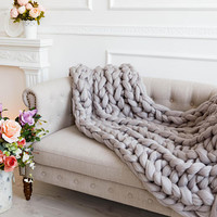 Warm bulky knit blanket for bed, for sofa, for couch, Chunky giant yarn arm knitted throws, Big merino woollen, Personalised Christmas gifts
