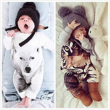 Kamimi 3D Printing Bear/Tiger/Panda Style Cotton Romper for 0-24M Newborn Baby Boys girls Animal clothes Infant jumpsuit