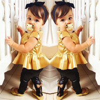Hot Baby Girls Kids Shirt Dress + Legging Pants Casual Clothes Sets Suit Outfits
