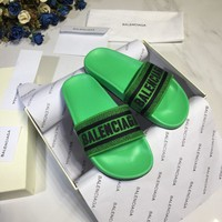 Kuyou Gx19711 Balenciaga 2019 Logo Green Slippers For Men And Women