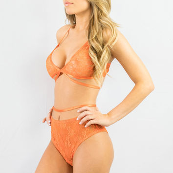 Rehab Lacey Free Lingerie Set Orange