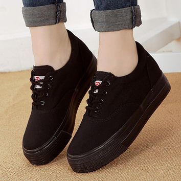 Height Increasing Spring Autumn New Canvas Female Women's Platform Shoes Full black Fashion shoes
