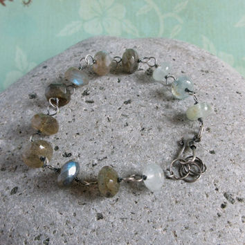 Labradorite Bracelet, Aquamarine Gemstone, Rustic Wire Wrapped Jewelry