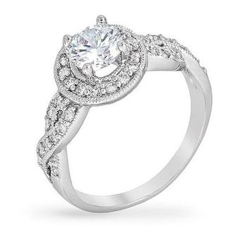 Eryne 1ct CZ White Gold Rhodium Classic Vintage Engagement Ring