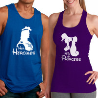 Personalized Couples Hercules Tee Shirts / Customized Couples Disney Tank Tops / Hercules and Megara
