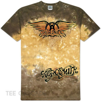 AEROSMITH Ray Logo Tie-Dye T-Shirt M-2XL Steven Tyler Rock Tee NEW