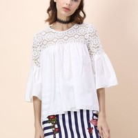 Women Fashion Solid Color Middle Sleeve Pagoda Sleeve Hollow Lace Stitching Chiffon Shirt Tops