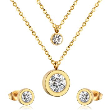 316L Stainless Steel Double Necklace With Earring CZ Jewelry Set