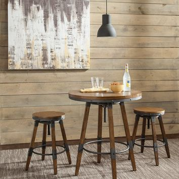 Chic Urban Adjustable Round Bar Table, Weathered Oak Brown and Gray