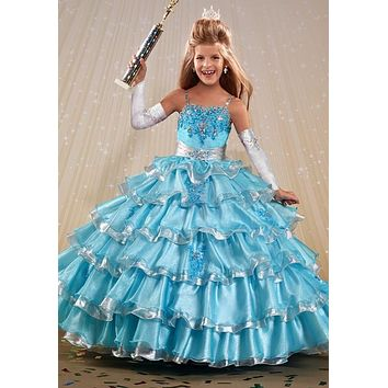2016 Colorful Flower Girl Dress Princess Kids Pageant Party Dance Wedding Birthday Ball Gown Dresses For Girls 10 12
