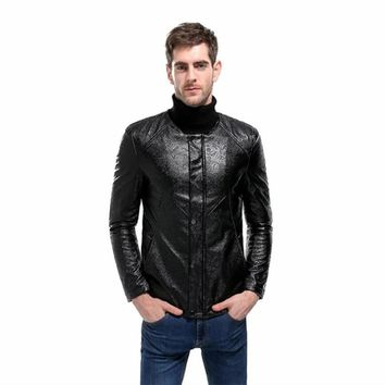Men's Quilted Pattern Faux-Leather Moto Jacket Coat