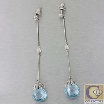 Vtg Estate 18k White Gold .50ct Diamond Aquamarine Briolette Drop Dangle Earring