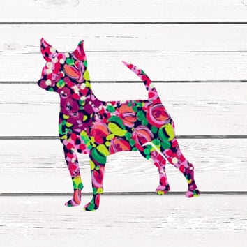Lilly Pulitzer Chihuahua Vinyl Decal For Yeti Tumblers, Cars, and Tech Devices