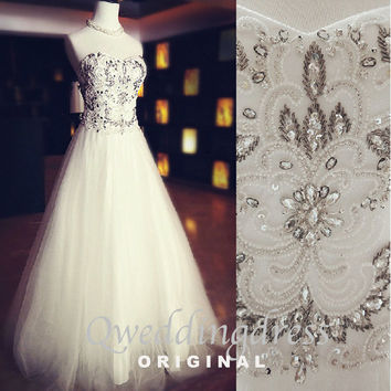 2015 new design sweetheart strapless silver rhinestone long wedding dress,wedding gown