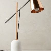 Slanted Copper Table Lamp by Anthropologie in Copper/marble Size: One Size Lighting