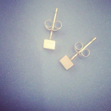 Square cube sterling silver stud earrings