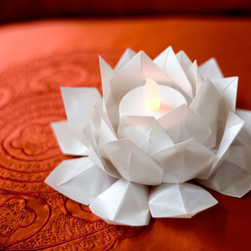 Origami Pearl Lotus Tea Light, Table Decor, Translucent Tea Light, Origami Lantern, Lamp, Modern Zen