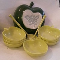 Vintage Hazel Atlas Green Apple 10 Piece Salad Bowl Set Orchard Ware