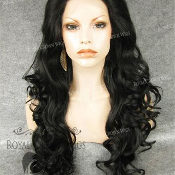"""26"""" Heat Safe Synthetic Lace Front in Curly Texture """"Calypso"""" in Darkest Brown"""