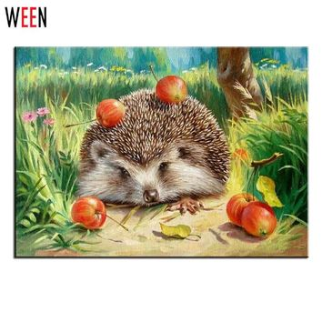 WEEN Oil Hedgehog Painting by Numbers Wall Pictures for Living Room Animal Cuadros Canvas DIY Digital Art Home Decor Child Gift