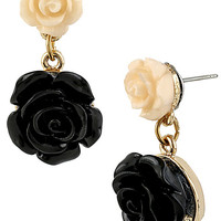 BetseyJohnson.com - FABULOUS FLOWERS DROP EARRING BLACK