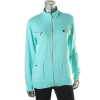 Style & Co. Womens Zip Front Funnel Neck Track Jacket