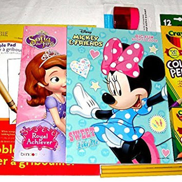 Disney Mickey & Friends & Sofia The First Scribble Pad Crayola Pencils & Crayon 3 Pencils + Pencil/Crayon Sharpener Coloring Activity Bundle