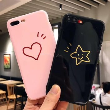 Cool Glossy Letter Stick Figure Heart Star Soft TPU Phone Case For iPhone X 8 6 6s 7 Plus Cases Lovely King Queen Back Cover CoqueAT_93_12