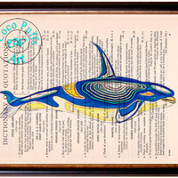Blue Yellow Killer Whale Art Beautifully Upcycled Vintage Dictionary Page Book Art Print, Sea Life Print