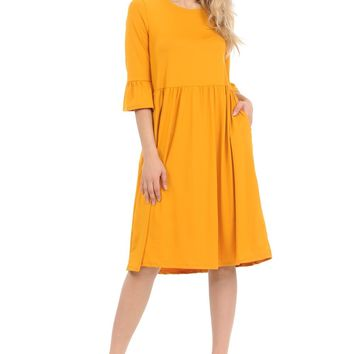 Midi Dress with Ruffle Sleeves and Side Pockets