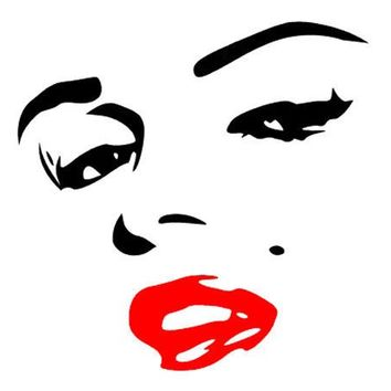 "SEXY Marilyn Marilyn Monroe Face Red Lips 6"" BLACK Car Truck VINYL Decal Art Wall Sticker USA"