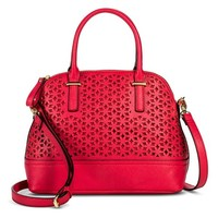 Women's Floral Cut Out Satchel Handbag - Red