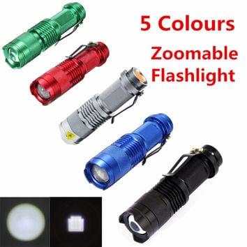 Mini Flashlight ZOOMABLE 7W CREE Q5 2000lm ZOOM Tactical AA 14500 battery Flashlight Torch Lamp