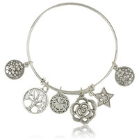 Retro Antique Silver Life Of Tree Star Flower Charms Pendant Bracelets Bangles Vintage Women Jewelry (Color: Antique silver) = 1946448900