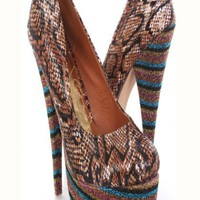 Auburn Multi Faux Leather Animal Glitter Stripe Platform Pump Heels