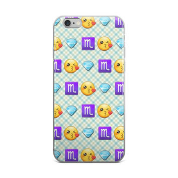 Scorpio Diamonds & Blushing Blowing Kisses Emoji Collage Teen Cute Girly Girls Blue iPhone 4 4s 5 5s 5C 6 6s 6 Plus 6s Plus 7 & 7 Plus Case