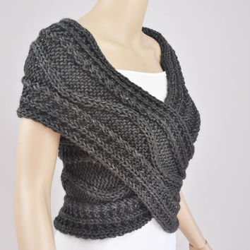 Hand knit vest, Cross Sweater, Capelet, Neck warmer in Charcoal / dark grey