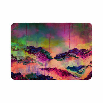 "Ebi Emporium ""It's A Rose Colored Life 3"" Magenta Orange Memory Foam Bath Mat"