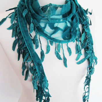 SPRING LEAVES Lace Scarf With Fringed Leaves, Woman, Mothers Day Gift