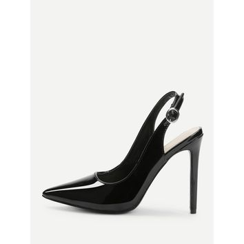 Slingbacks Pointed Toe Heels Black