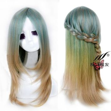 New Womens Long Gradient Wig Green Ombre Straight Hair Anime Cosplay Costume Wig
