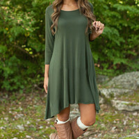 Green Winter Dress Round-neck One Piece Dress = 5825589441
