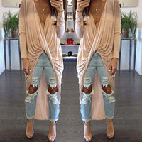 Apricot Wrapped Long Sleeve Blouse