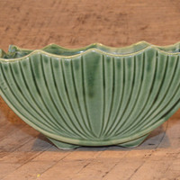Vintage Green Planter, Scalloped Rim, Watermelon Planter, USA 667, Vintage Ceramic Green Planter, Vintage Green Flower Pot