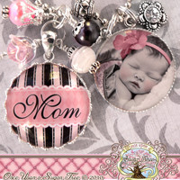 MOM NECKLACE, Glass Dome Bezel Pendant, Photo Necklace, Mother Gift, Pink Black, Grandma, Nana, Aunt, Mimi, Touch of Color