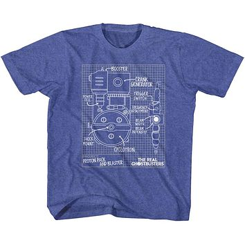 The Real Ghostbusters Kids T-Shirt Blueprints Vintage Royal Tee