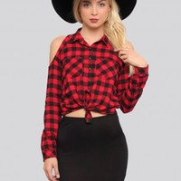 Plaid About You Shirt - Red - Shirts+Blouses - Tops - Clothes | GYPSY WARRIOR