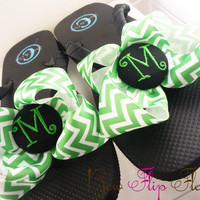Chevron Personalized Flip Flops Bow Number Personalized Monogrammed Mom Girl Boutique Ribbon Flip Flops choose your ribbon