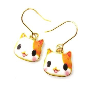 Orange and White Kitty Cartoon Cat Face Shaped Dangle Drop Earrings | DOTOLY